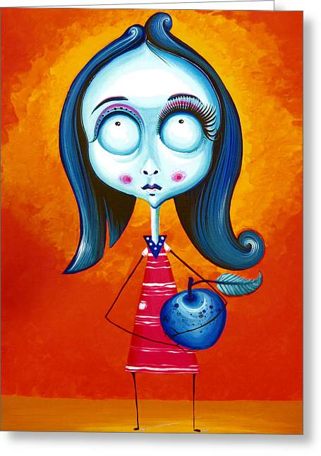 Blue Girl With Blue Apple Greeting Card by Tiberiu Soos