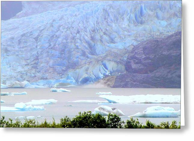 Blue Glacier Greeting Card by Mindy Newman