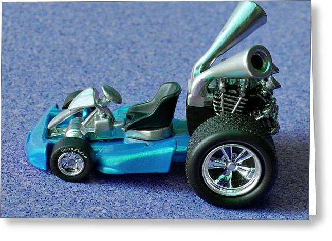 Blue Go Kart Greeting Card