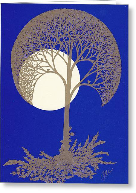 Blue Gold Moon Greeting Card by Charles Cater