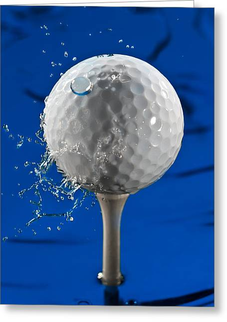 Golf Photographs Greeting Cards - Blue Golf Ball Splash Greeting Card by Steve Gadomski