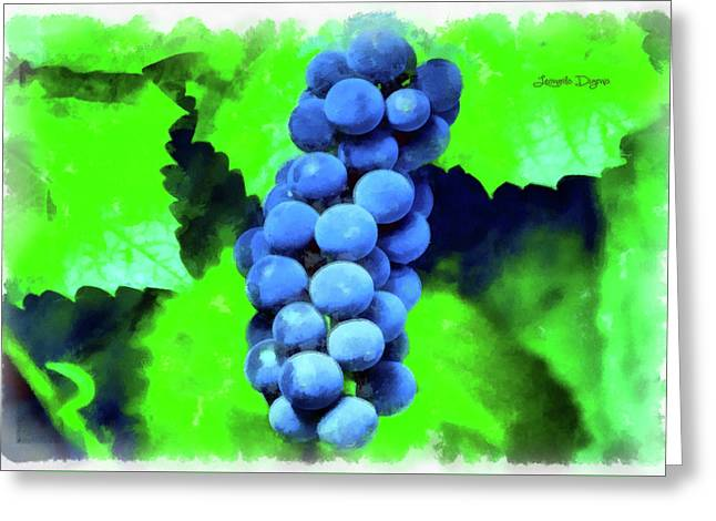 Blue Grapes - Aquarell Over Paper Greeting Card by Leonardo Digenio