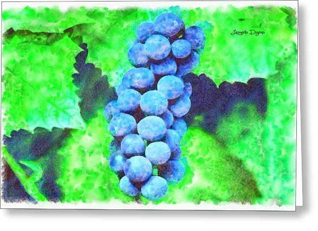 Blue Grapes  - Watercolor Style -  - Da Greeting Card