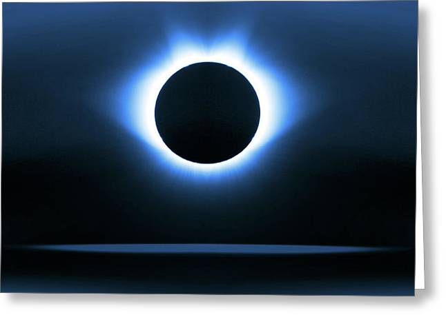 Blue Graphic Solar Eclipse Greeting Card