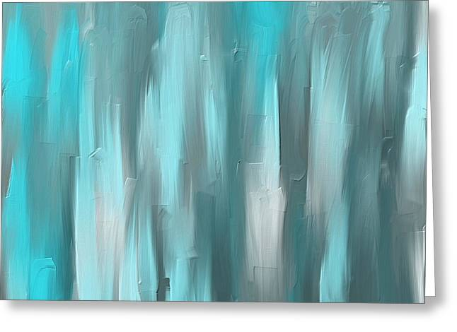 Blue Gray Art Greeting Card by Lourry Legarde