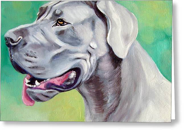 Blue Great Dane Greeting Card