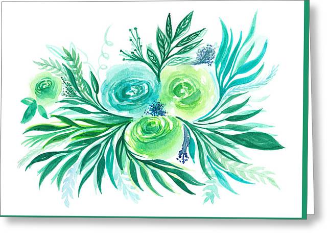 Blue Green And Turquoise Flower In Watercolor Greeting Card by My Art