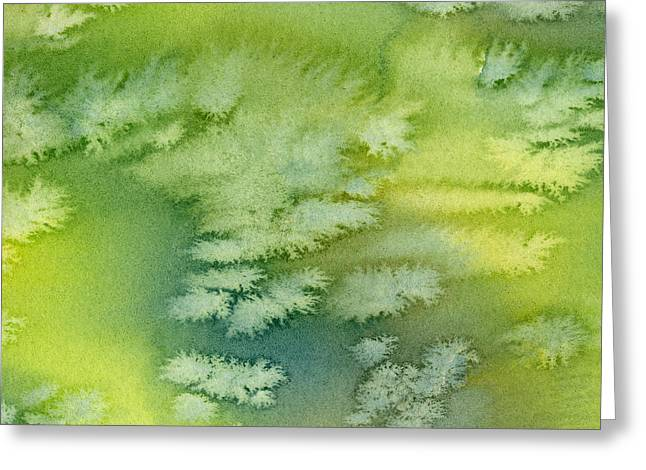 Blue Green And Yellow Abstract Watercolor Design 4 Greeting Card by Sharon Freeman