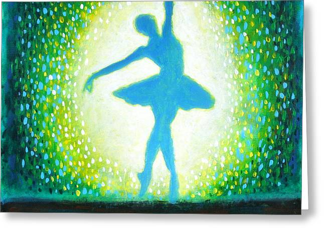 Greeting Card featuring the painting Blue-green Ballerina by Bob Baker