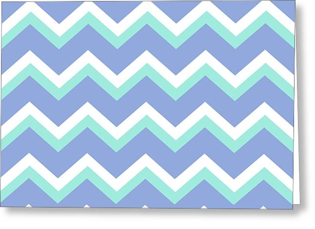 Blue Green Chevron Pattern Greeting Card