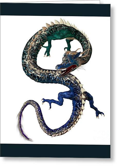 Blue Green Dragon Greeting Card by Corey Ford