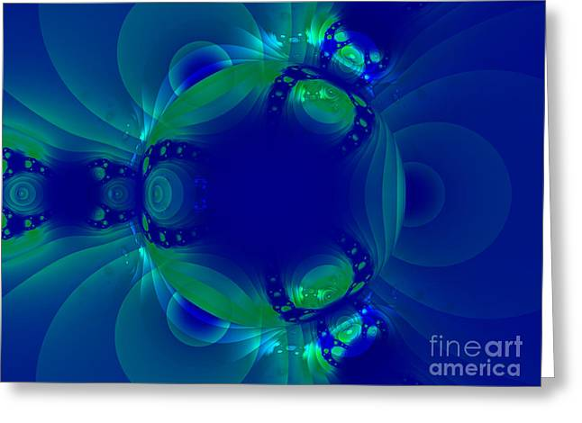 Blue Green Globe Luminant Fractal Greeting Card