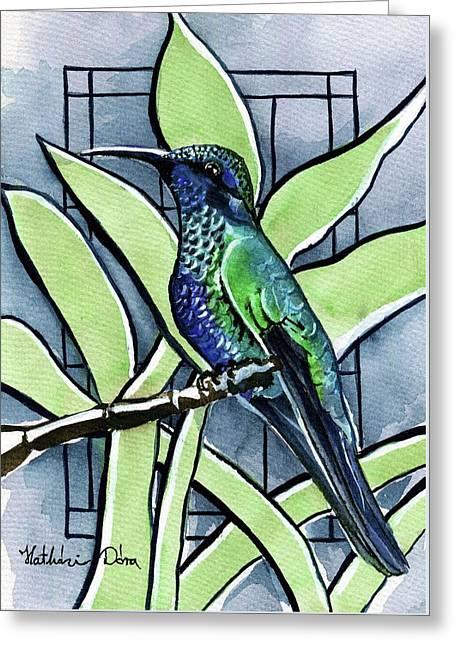 Blue Green Hummingbird Greeting Card
