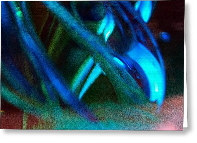 Blue Green Texture Greeting Card by Don  Wright