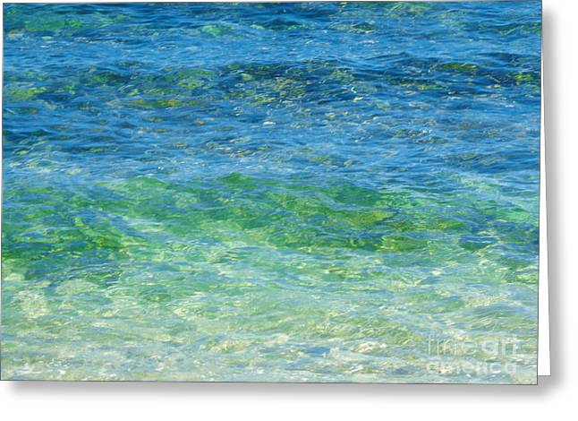 Blue Green Waves Greeting Card