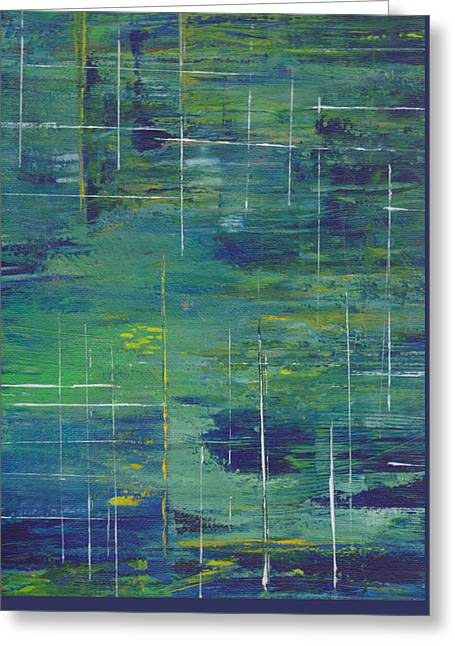 Blue Green Yellow Abstract  Greeting Card by Patricia Cleasby