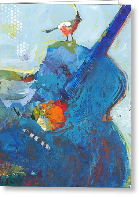 Blue Guitar With Bird Greeting Card