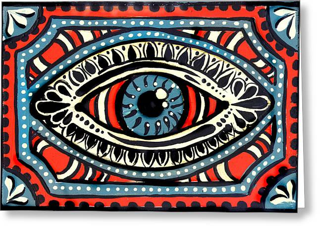 Greeting Card featuring the painting Blue Gypsi Eye by Nada Meeks
