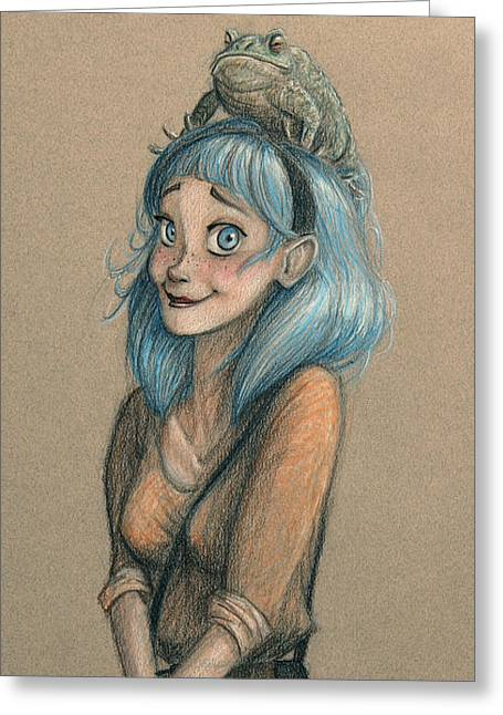 Blue Hair Summer  Greeting Card by Jaysen Batchelor
