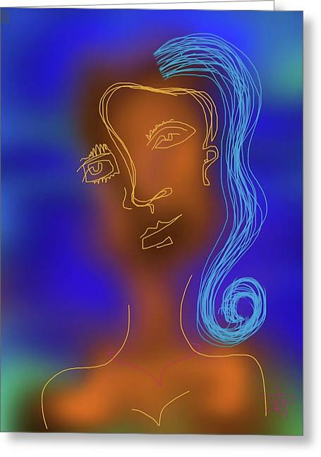 Blue Haired Woman Greeting Card by Russell Pierce