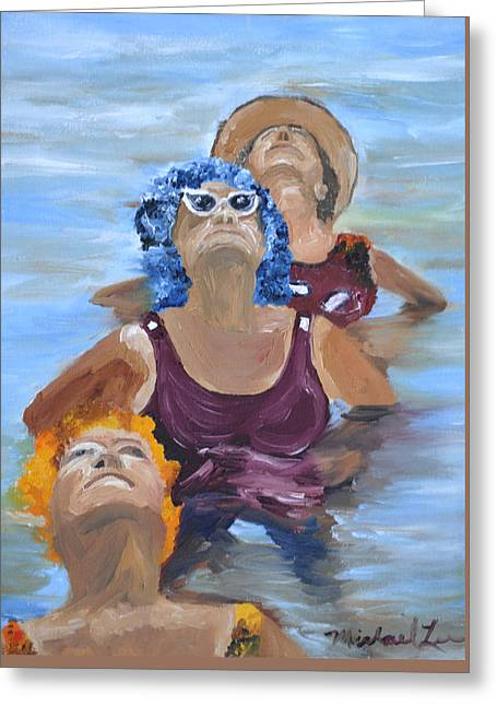 Blue Hairs Greeting Card by Michael Lee