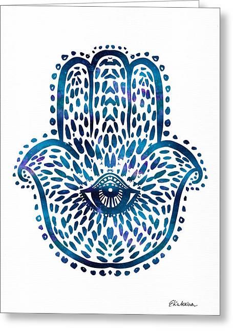Blue Hamsa Hand Greeting Card
