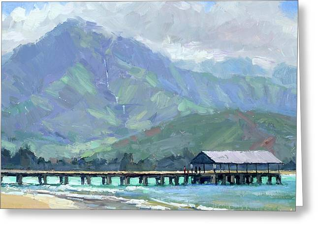 Blue Hanalei Pier Greeting Card