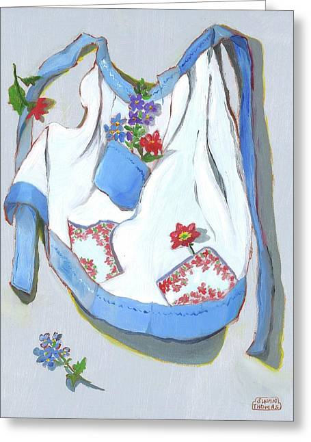 Blue Handkerchief Apron Greeting Card