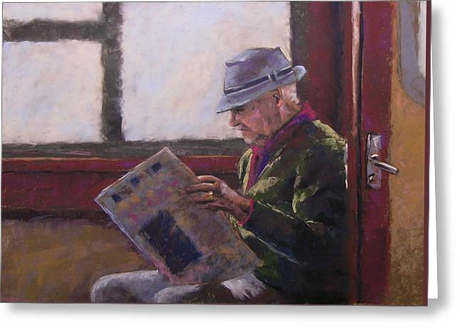 Blue Hat Retired Greeting Card by Mary McInnis