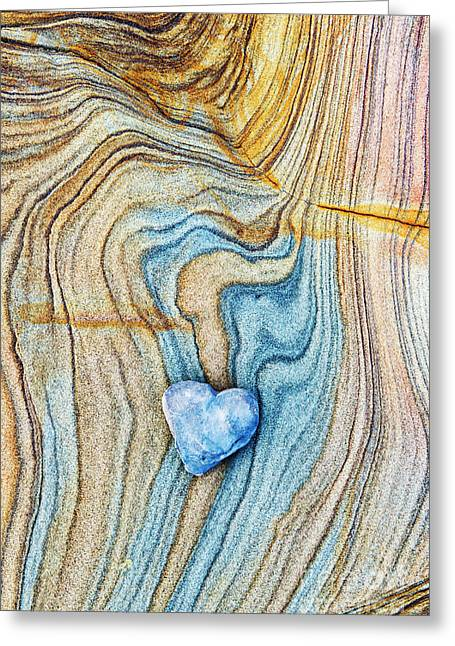 Blue Heart Stone Greeting Card by Tim Gainey