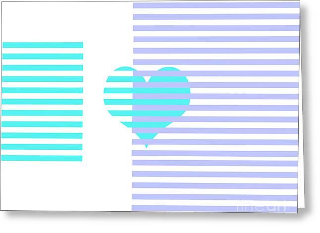 Blue Heart Stripes Greeting Card