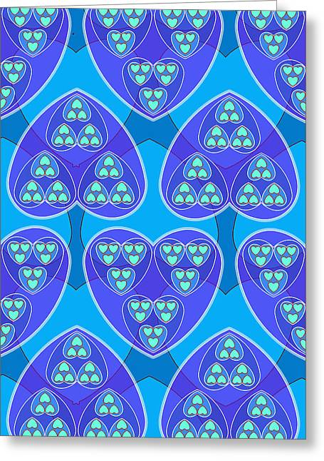 Blue Hearts Greeting Card by Soran Shangapour