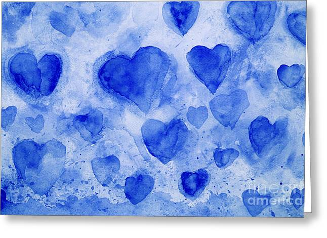 Blue Hearts Greeting Card by Stella Levi