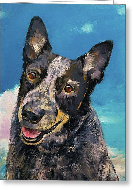 Blue Heeler Greeting Card by Michael Creese
