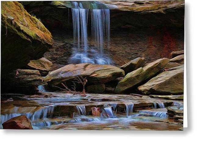 Blue Hen Falls In Cuyahoga Valley National Park Greeting Card by Dan Sproul