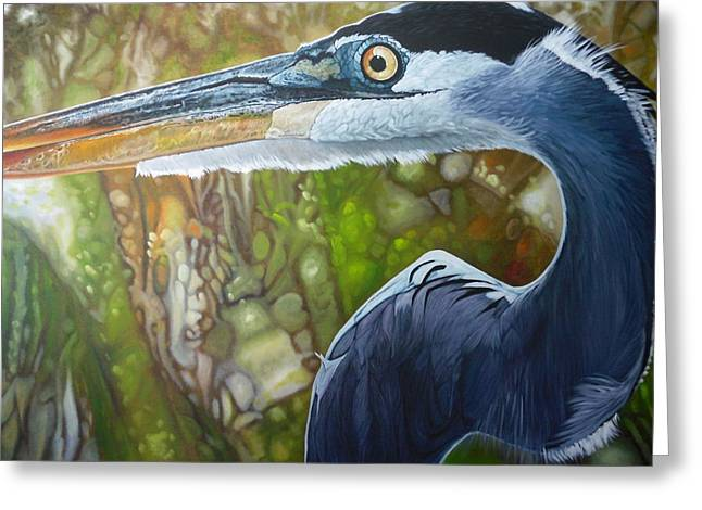 Blue Heron Greeting Card by Jon Ferrentino