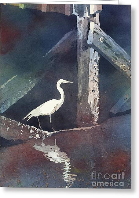 Greeting Card featuring the painting Blue Heron- Outer Banks by Ryan Fox