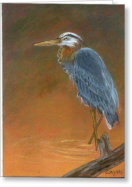 Blue Heron Greeting Card by Peggy Conyers