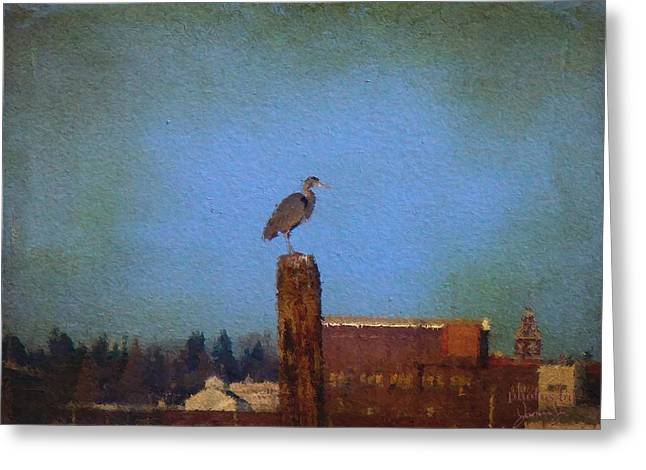 Blue Heron Sky Painted Greeting Card