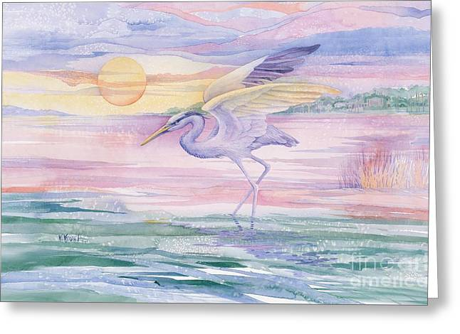 Blue Heron Twilight Greeting Card