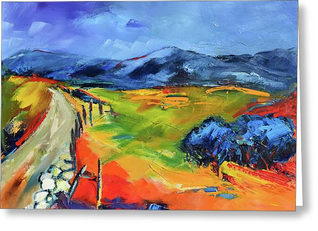 Blue Hills By Elise Palmigiani Greeting Card by Elise Palmigiani