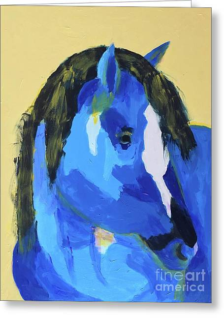 Greeting Card featuring the painting Blue Horse 2 by Donald J Ryker III