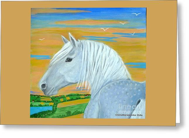 Blue Horse Greeting Card by Anna Folkartanna Maciejewska-Dyba