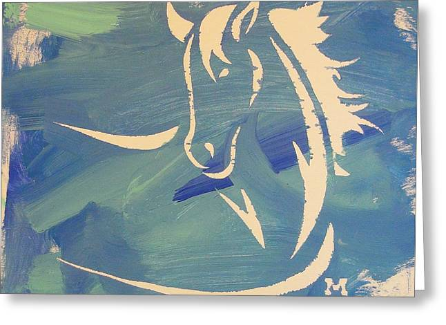 Blue Horse Sky Greeting Card