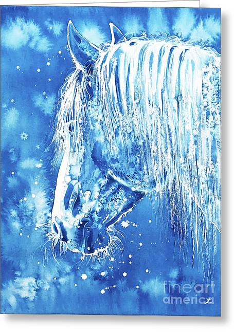 Greeting Card featuring the painting Blue Horse by Zaira Dzhaubaeva