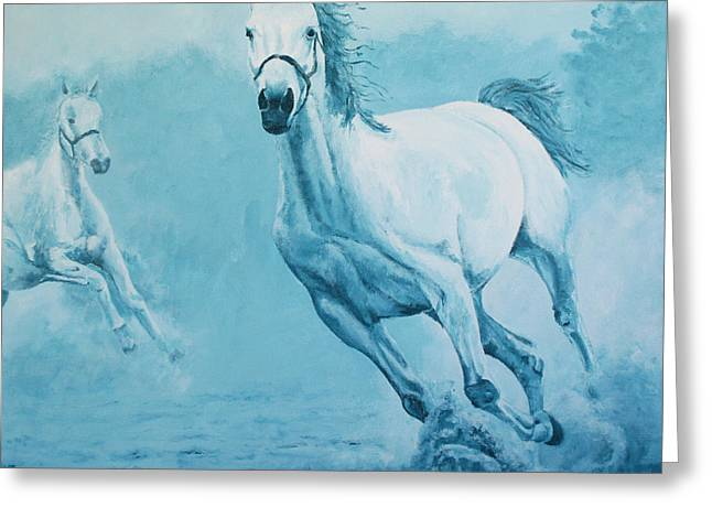Blue Horses Greeting Card by Willem Arendsz