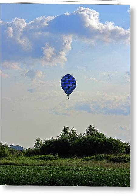 Greeting Card featuring the photograph Blue Hot Air Balloon by Angela Murdock