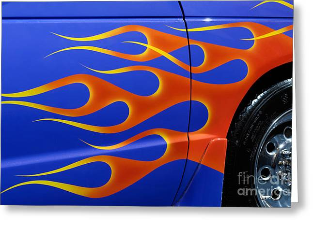Chevrolet Pickup Truck Greeting Cards - Blue Hot Rod Closeup Greeting Card by Oleksiy Maksymenko