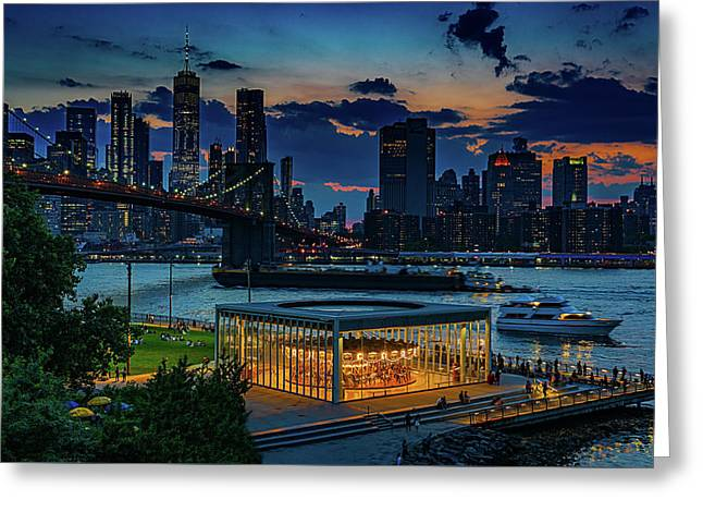 Greeting Card featuring the photograph Blue Hour At Brooklyn Bridge Park by Chris Lord