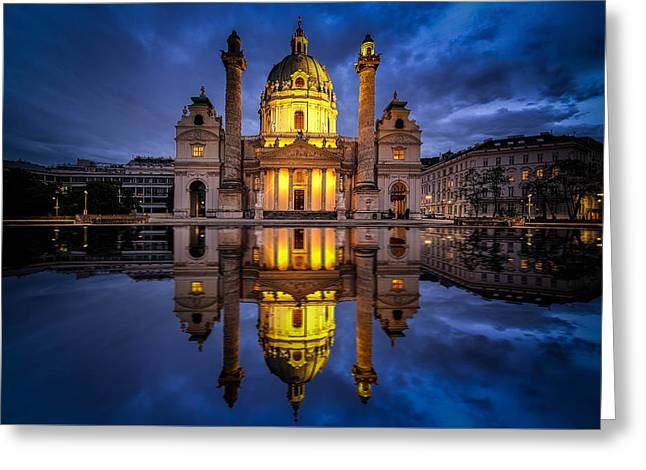 Greeting Card featuring the photograph Blue Hour At Karlskirche by Kevin McClish